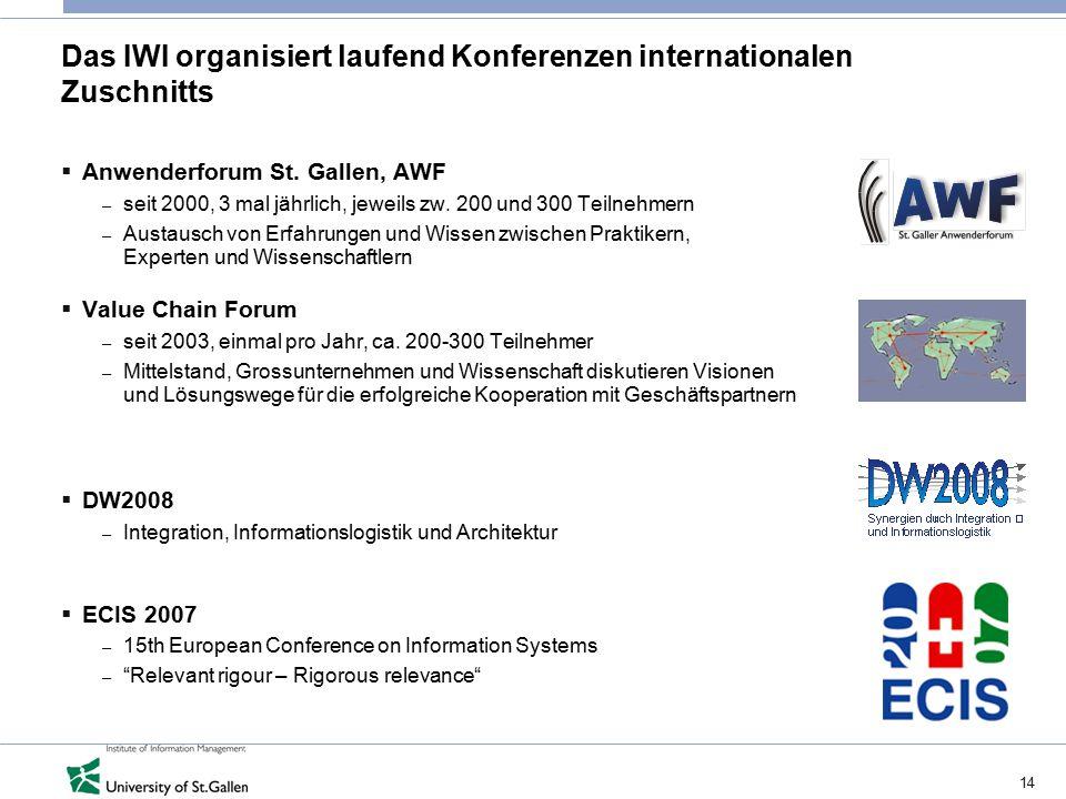 14 Das IWI organisiert laufend Konferenzen internationalen Zuschnitts  Anwenderforum St. Gallen, AWF – seit 2000, 3 mal jährlich, jeweils zw. 200 und
