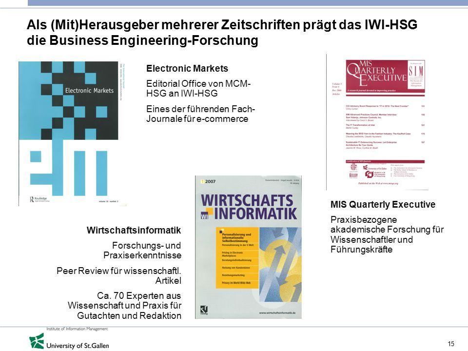 15 Als (Mit)Herausgeber mehrerer Zeitschriften prägt das IWI-HSG die Business Engineering-Forschung Electronic Markets Editorial Office von MCM- HSG a