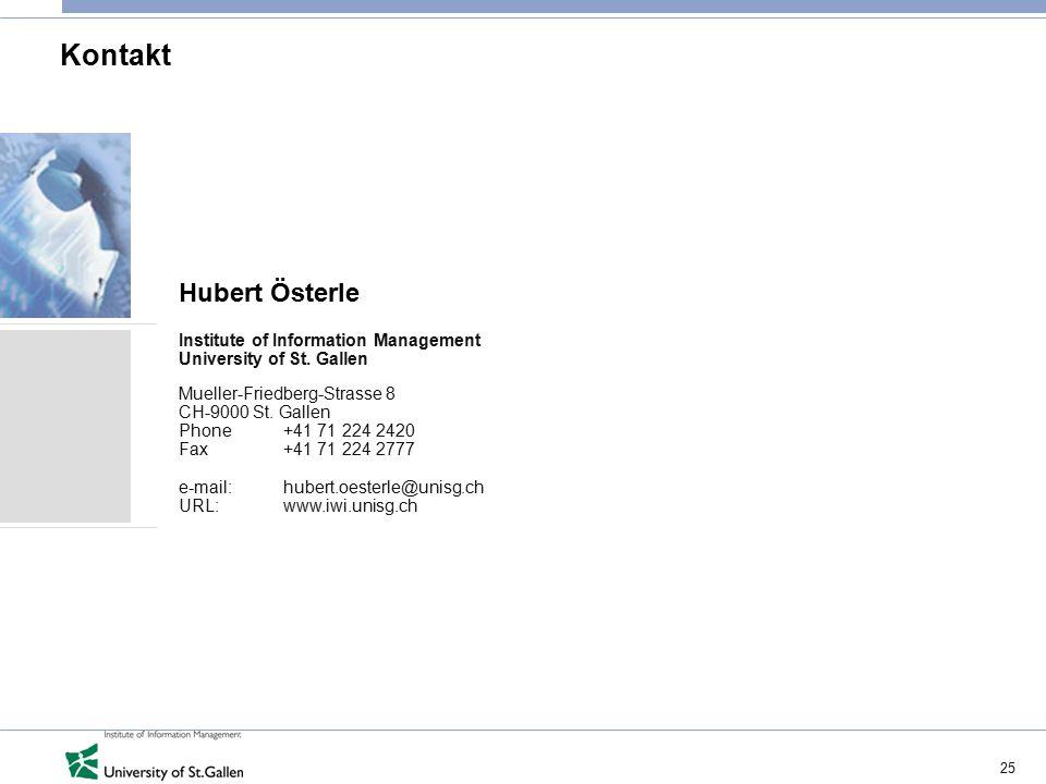 25 Kontakt Hubert Österle Institute of Information Management University of St.