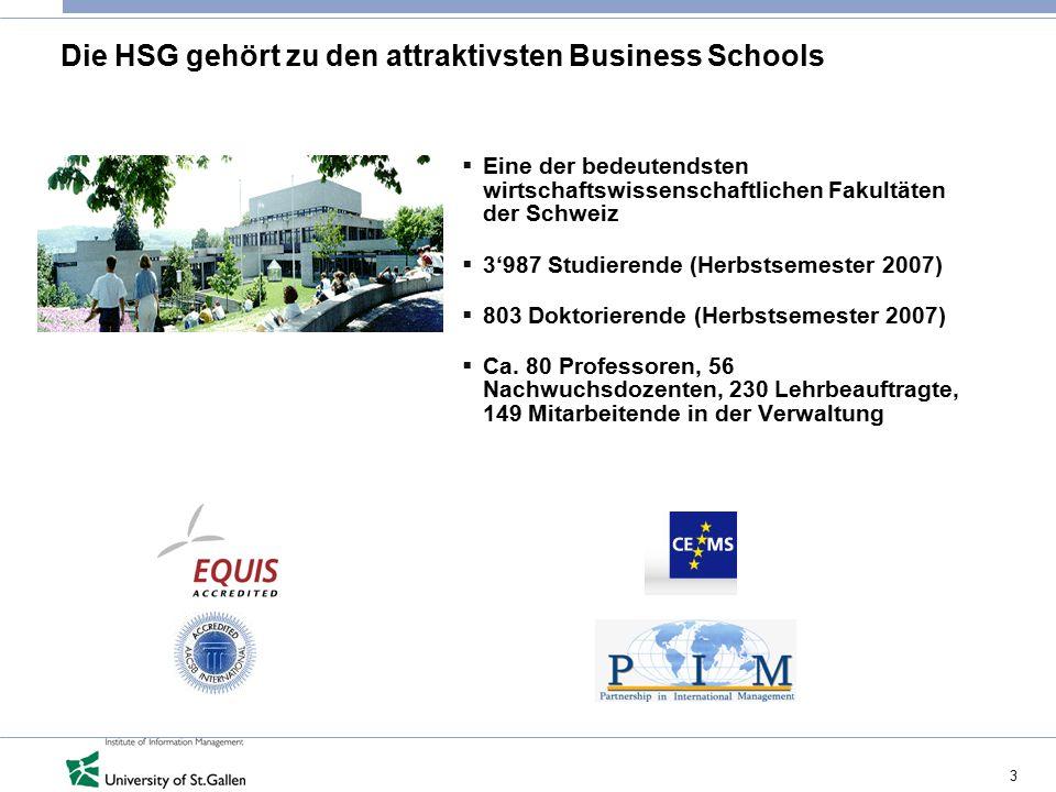 3 Die HSG gehört zu den attraktivsten Business Schools  Eine der bedeutendsten wirtschaftswissenschaftlichen Fakultäten der Schweiz  3'987 Studieren
