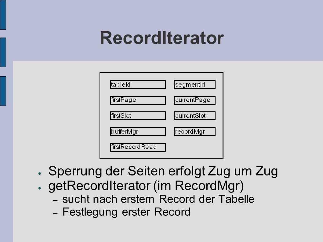RecordIterator ● Sperrung der Seiten erfolgt Zug um Zug ● getRecordIterator (im RecordMgr) – sucht nach erstem Record der Tabelle – Festlegung erster Record