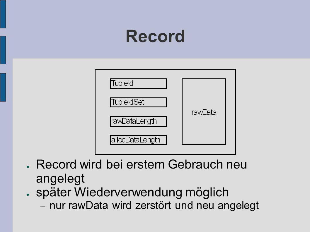 Record ● Record wird bei erstem Gebrauch neu angelegt ● später Wiederverwendung möglich – nur rawData wird zerstört und neu angelegt