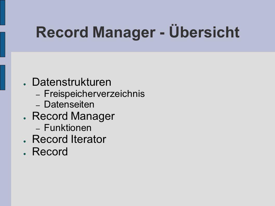 Record Manager - Übersicht ● Datenstrukturen – Freispeicherverzeichnis – Datenseiten ● Record Manager – Funktionen ● Record Iterator ● Record