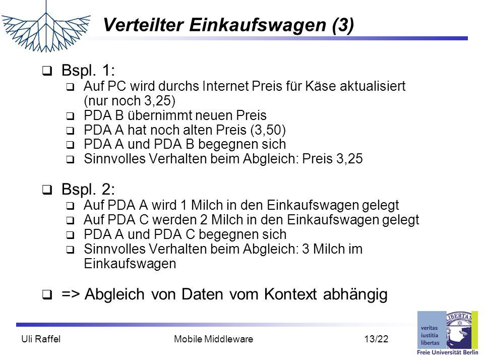 Uli Raffel Mobile Middleware 13/22 Verteilter Einkaufswagen (3)  Bspl. 1:  Auf PC wird durchs Internet Preis für Käse aktualisiert (nur noch 3,25) 