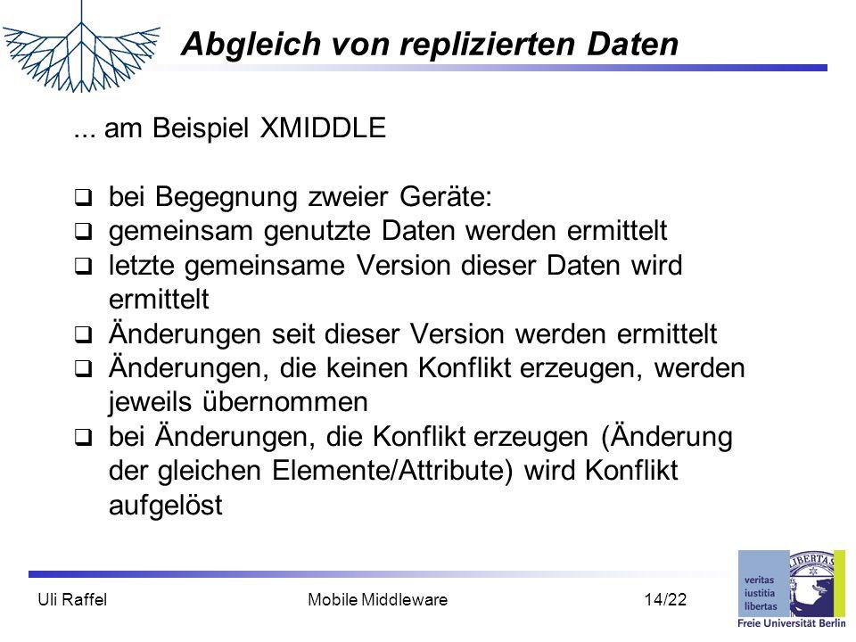 Uli Raffel Mobile Middleware 14/22 Abgleich von replizierten Daten... am Beispiel XMIDDLE  bei Begegnung zweier Geräte:  gemeinsam genutzte Daten we