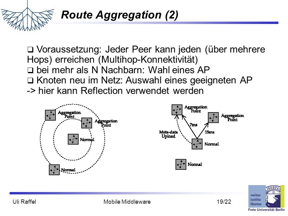 Uli Raffel Mobile Middleware 19/22 Route Aggregation (2)  Voraussetzung: Jeder Peer kann jeden (über mehrere Hops) erreichen (Multihop-Konnektivität)  bei mehr als N Nachbarn: Wahl eines AP  Knoten neu im Netz: Auswahl eines geeigneten AP -> hier kann Reflection verwendet werden