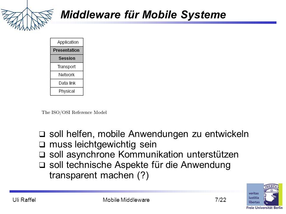 Uli Raffel Mobile Middleware 8/22 Middleware für Verteilte Systeme Zum Vergleich: Middleware für Verteilte Systeme  soll helfen, verteilte Anwendungen zu entwickeln  versteckt technische Aspekte vor der Anwendung Heterogenität Fehlertoleranz Ressourcenverteilung  bietet dem Anwendungsentwickler das Bild eines großen zentralen Systems (-> Verteilungstransparenz)