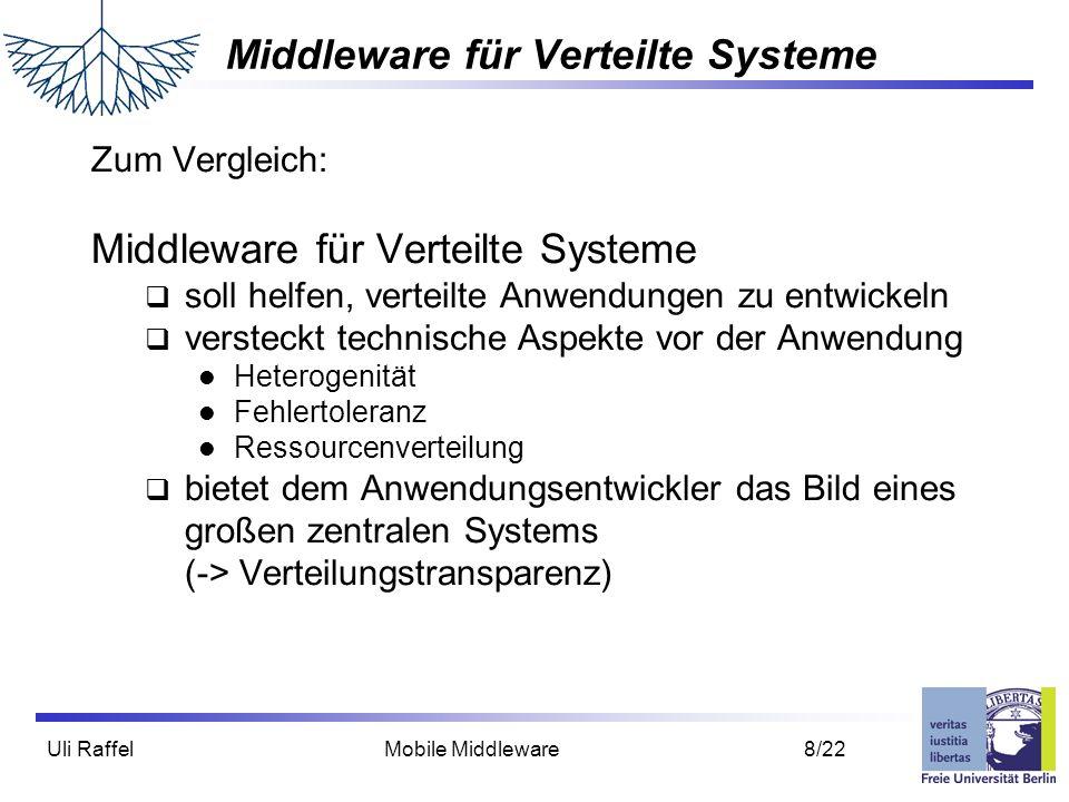Uli Raffel Mobile Middleware 8/22 Middleware für Verteilte Systeme Zum Vergleich: Middleware für Verteilte Systeme  soll helfen, verteilte Anwendunge