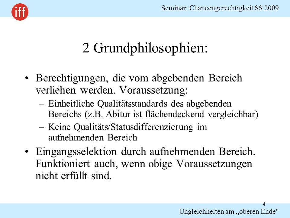 """Seminar: Chancengerechtigkeit SS 2009 Ungleichheiten am """"oberen Ende Beruht Zulassung auf Willkür."""
