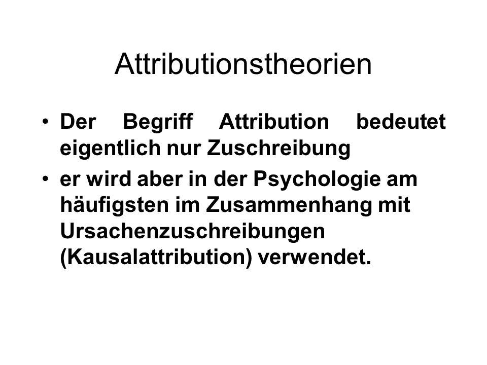 Attributionstheorien Der Begriff Attribution bedeutet eigentlich nur Zuschreibung er wird aber in der Psychologie am häufigsten im Zusammenhang mit Ur