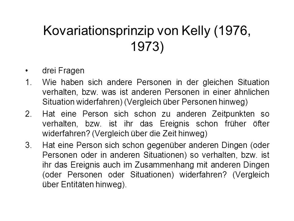 Kovariationsprinzip von Kelly (1976, 1973) drei Fragen 1.Wie haben sich andere Personen in der gleichen Situation verhalten, bzw. was ist anderen Pers