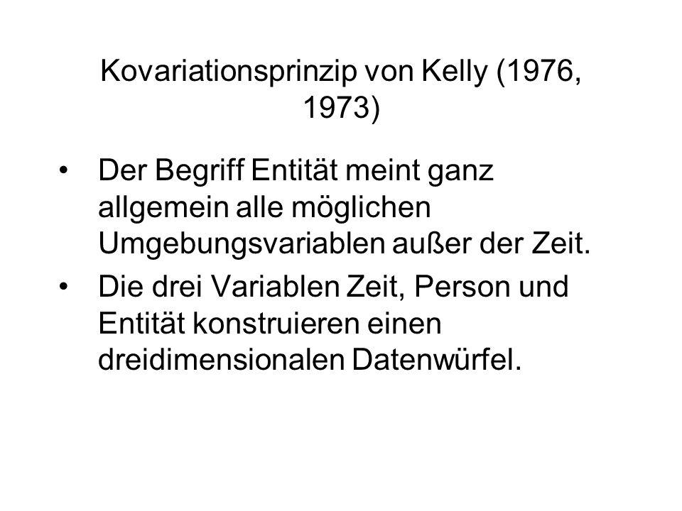Kovariationsprinzip von Kelly (1976, 1973) Der Begriff Entität meint ganz allgemein alle möglichen Umgebungsvariablen außer der Zeit. Die drei Variabl