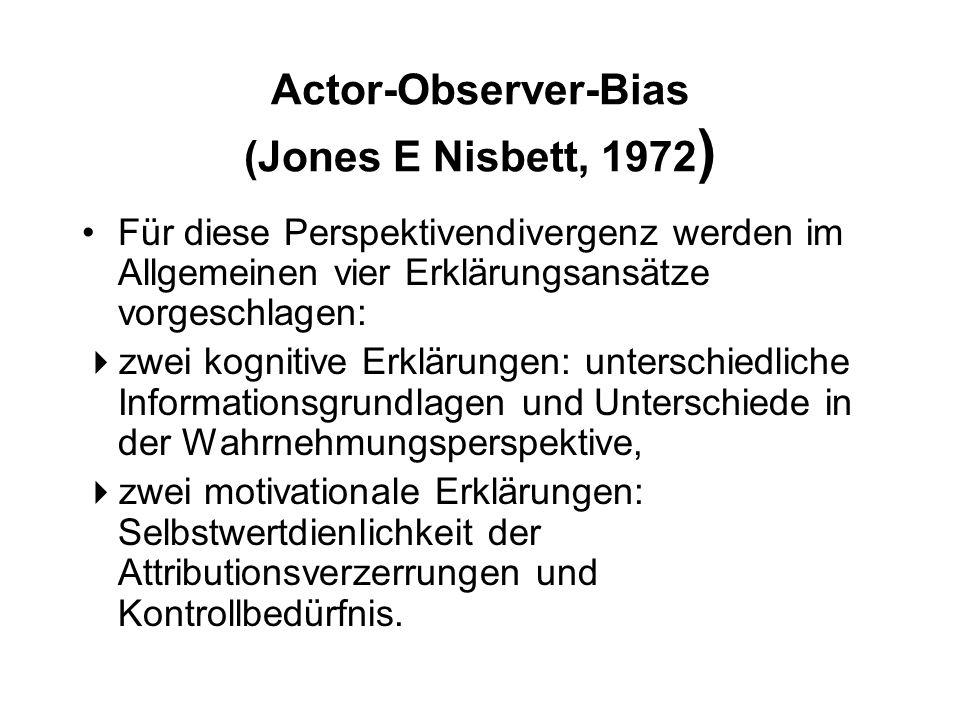Actor-Observer-Bias (Jones E Nisbett, 1972 ) Für diese Perspektivendivergenz werden im Allgemeinen vier Erklärungsansätze vorgeschlagen:  zwei kognit