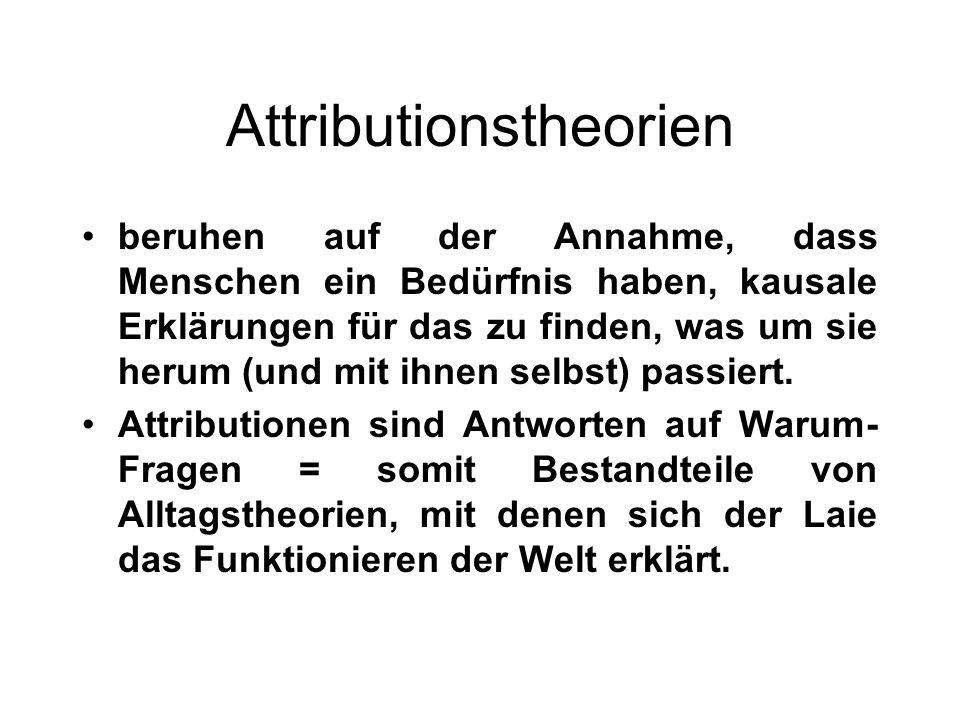 Attributionstheorien Die Attributionsforschung hat sich hauptsächlich mit zwei Fragen befasst: 1.Wie gelangen Menschen zu bestimmten Erklärungen.