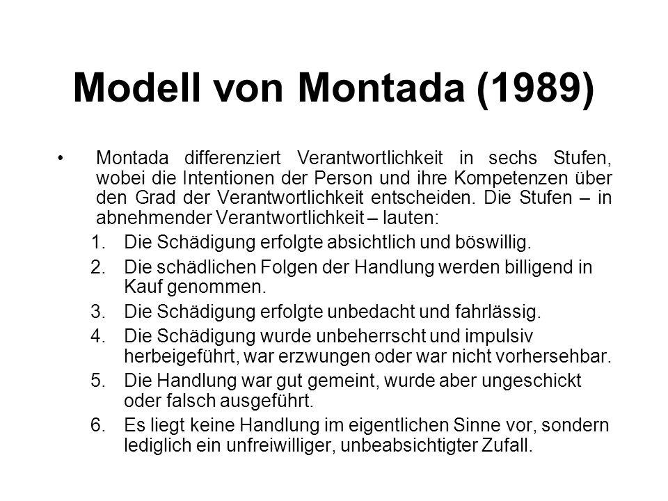 Modell von Montada (1989) Montada differenziert Verantwortlichkeit in sechs Stufen, wobei die Intentionen der Person und ihre Kompetenzen über den Gra