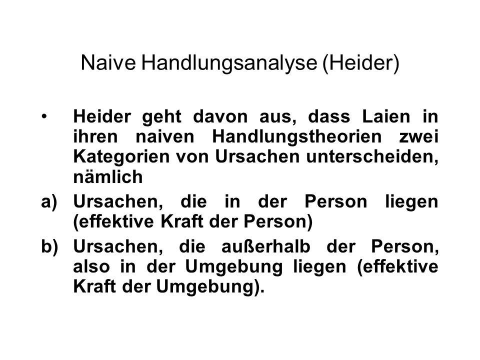 Naive Handlungsanalyse (Heider) Heider geht davon aus, dass Laien in ihren naiven Handlungstheorien zwei Kategorien von Ursachen unterscheiden, nämlic