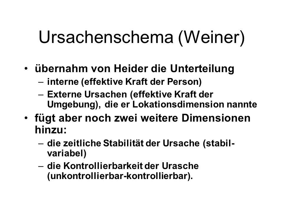 Ursachenschema (Weiner) übernahm von Heider die Unterteilung –interne (effektive Kraft der Person) –Externe Ursachen (effektive Kraft der Umgebung), d