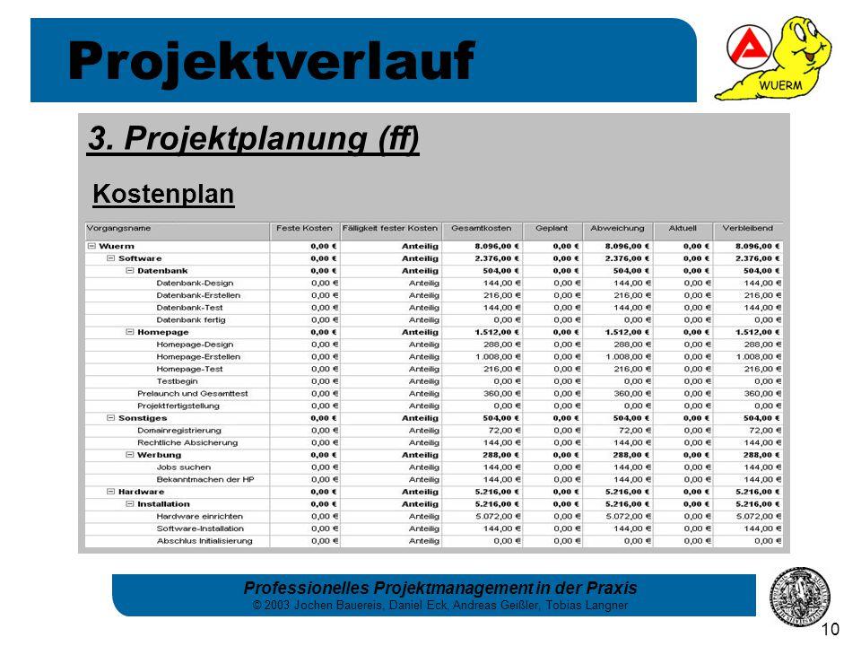 Professionelles Projektmanagement in der Praxis © 2003 Jochen Bauereis, Daniel Eck, Andreas Geißler, Tobias Langner 10 Projektverlauf 3. Projektplanun