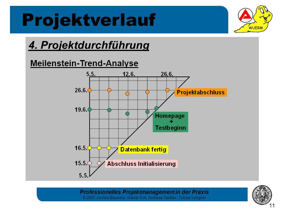 Professionelles Projektmanagement in der Praxis © 2003 Jochen Bauereis, Daniel Eck, Andreas Geißler, Tobias Langner 11 Projektverlauf 4. Projektdurchf