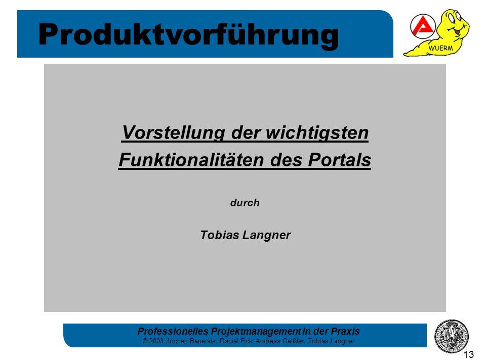 Professionelles Projektmanagement in der Praxis © 2003 Jochen Bauereis, Daniel Eck, Andreas Geißler, Tobias Langner 13 Vorstellung der wichtigsten Fun