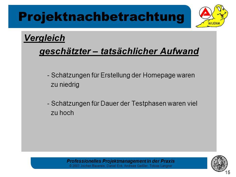 Professionelles Projektmanagement in der Praxis © 2003 Jochen Bauereis, Daniel Eck, Andreas Geißler, Tobias Langner 15 Vergleich geschätzter – tatsäch
