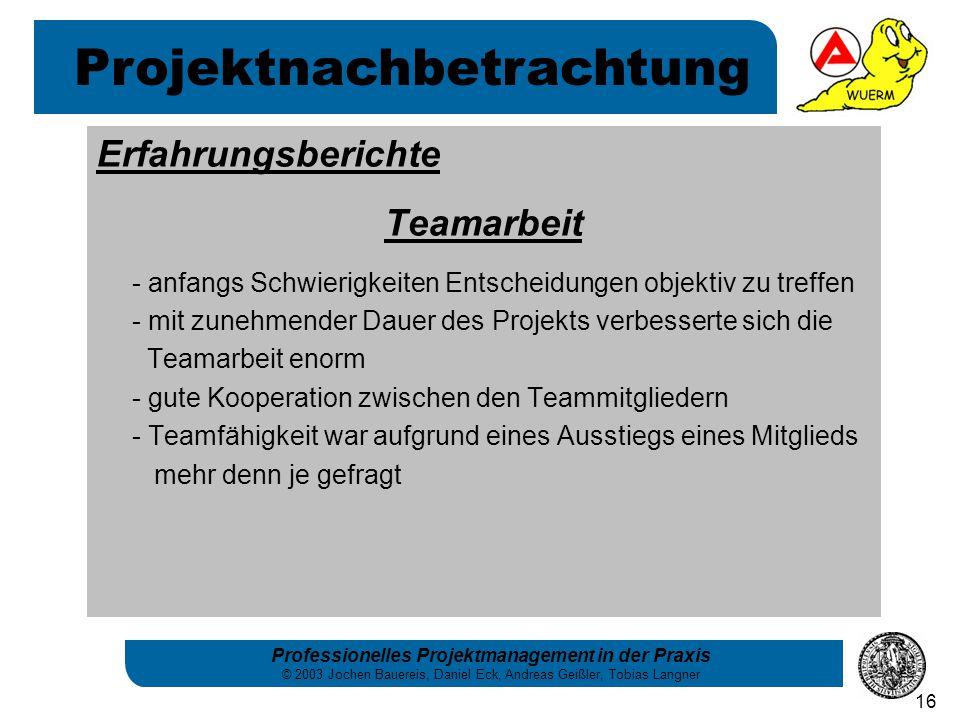 Professionelles Projektmanagement in der Praxis © 2003 Jochen Bauereis, Daniel Eck, Andreas Geißler, Tobias Langner 16 Erfahrungsberichte Teamarbeit -