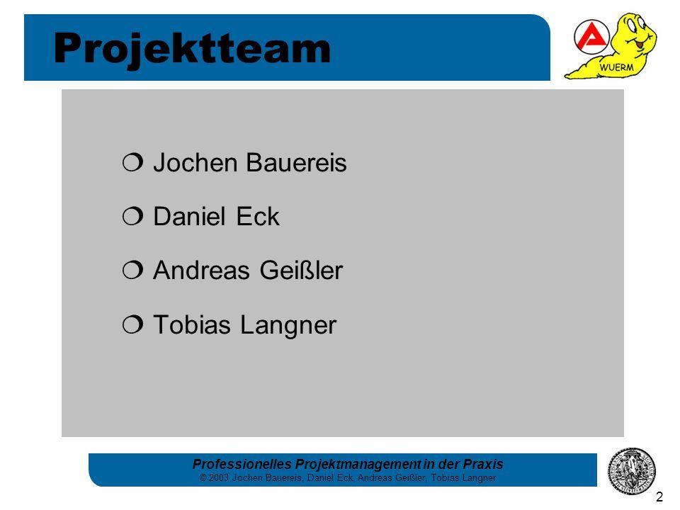 Professionelles Projektmanagement in der Praxis © 2003 Jochen Bauereis, Daniel Eck, Andreas Geißler, Tobias Langner 2  Jochen Bauereis  Daniel Eck 