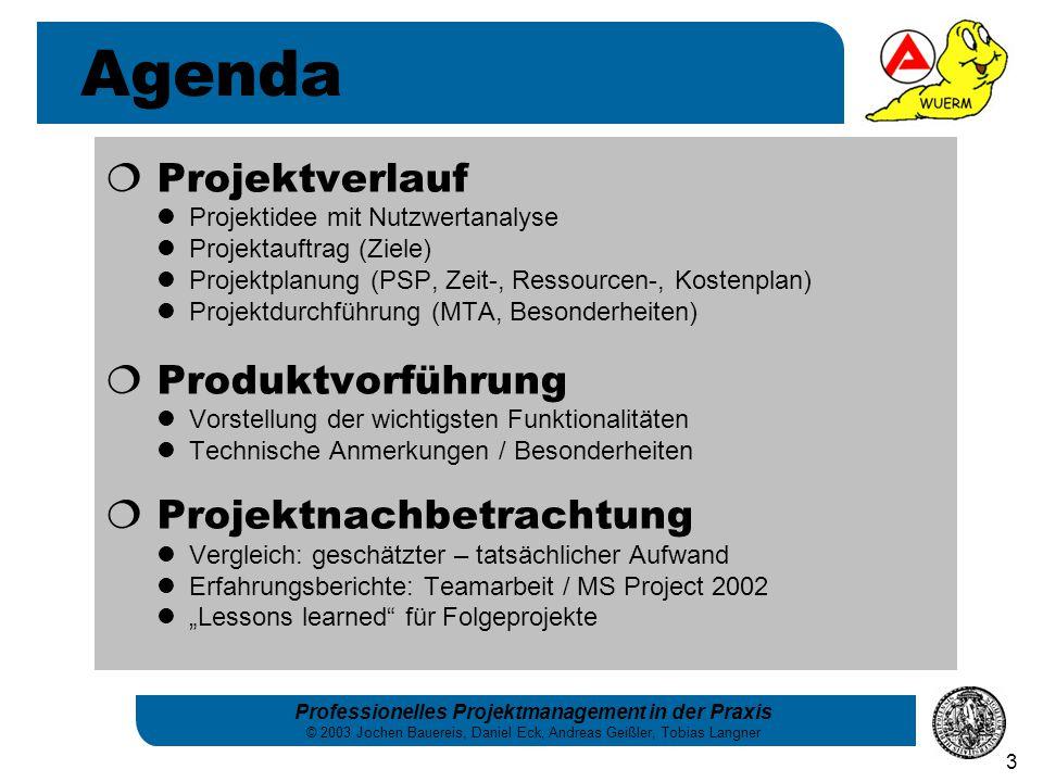 """Professionelles Projektmanagement in der Praxis © 2003 Jochen Bauereis, Daniel Eck, Andreas Geißler, Tobias Langner 3  Projektverlauf Projektidee mit Nutzwertanalyse Projektauftrag (Ziele) Projektplanung (PSP, Zeit-, Ressourcen-, Kostenplan) Projektdurchführung (MTA, Besonderheiten)  Produktvorführung Vorstellung der wichtigsten Funktionalitäten Technische Anmerkungen / Besonderheiten  Projektnachbetrachtung Vergleich: geschätzter – tatsächlicher Aufwand Erfahrungsberichte: Teamarbeit / MS Project 2002 """"Lessons learned für Folgeprojekte Agenda"""
