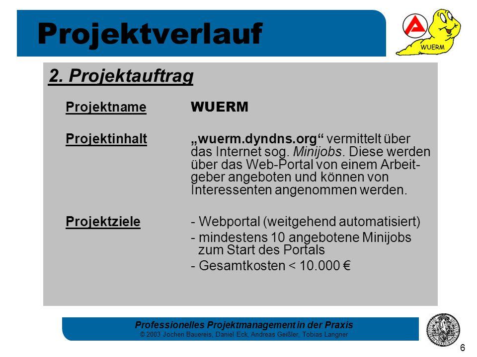 Professionelles Projektmanagement in der Praxis © 2003 Jochen Bauereis, Daniel Eck, Andreas Geißler, Tobias Langner 6 2. Projektauftrag Projektname WU