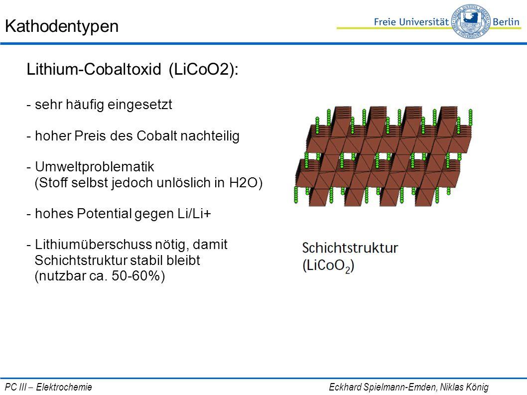 Kathodentypen Lithium-Cobaltoxid (LiCoO2): - sehr häufig eingesetzt - hoher Preis des Cobalt nachteilig - Umweltproblematik (Stoff selbst jedoch unlös
