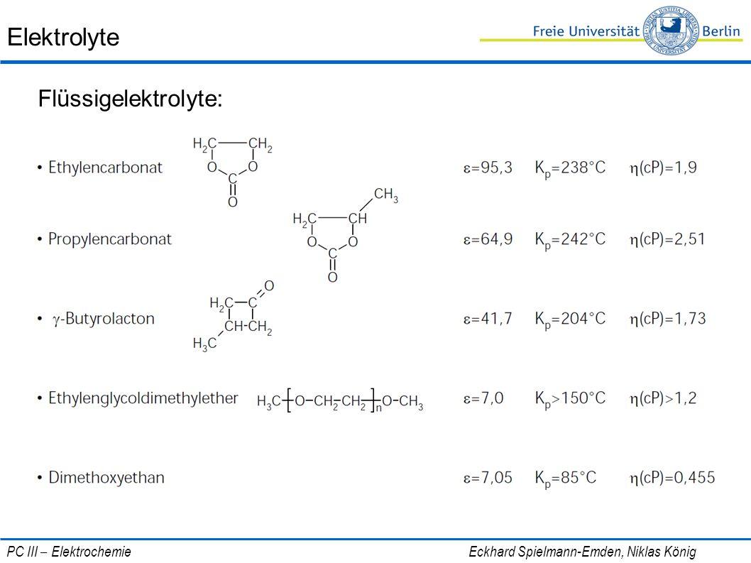 Elektrolyte Flüssigelektrolyte: PC III – Elektrochemie Eckhard Spielmann-Emden, Niklas König