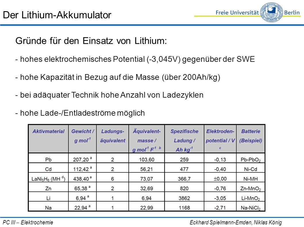 Der Lithium-Akkumulator Gründe für den Einsatz von Lithium: - hohes elektrochemisches Potential (-3,045V) gegenüber der SWE - hohe Kapazität in Bezug