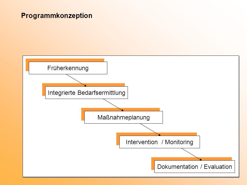 Programmkonzeption Früherkennung Integrierte Bedarfsermittlung Maßnahmeplanung Intervention / Monitoring Dokumentation / Evaluation