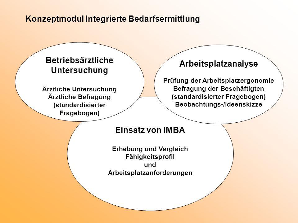 Konzeptmodul Integrierte Bedarfsermittlung Einsatz von IMBA Erhebung und Vergleich Fähigkeitsprofil und Arbeitsplatzanforderungen Betriebsärztliche Un