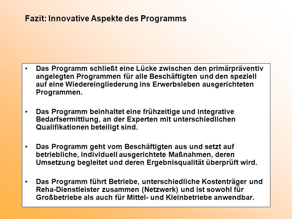 Fazit: Innovative Aspekte des Programms Das Programm schließt eine Lücke zwischen den primärpräventiv angelegten Programmen für alle Beschäftigten und