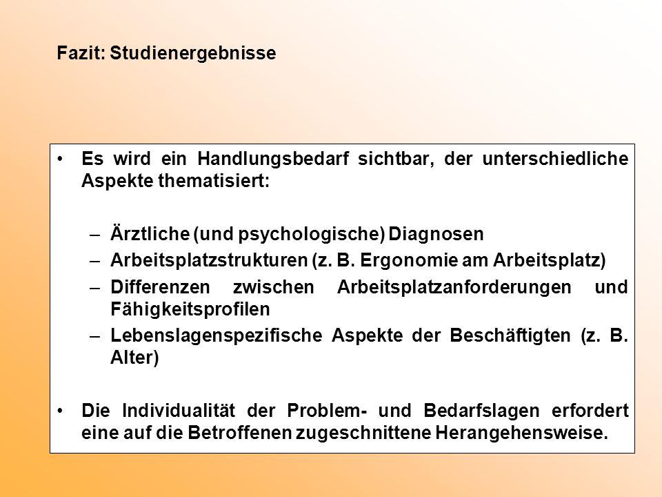 Fazit: Studienergebnisse Es wird ein Handlungsbedarf sichtbar, der unterschiedliche Aspekte thematisiert: –Ärztliche (und psychologische) Diagnosen –A