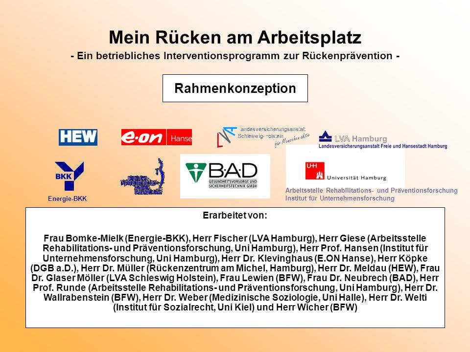 Mein Rücken am Arbeitsplatz - Ein betriebliches Interventionsprogramm zur Rückenprävention - Erarbeitet von: Frau Bomke-Mielk (Energie-BKK), Herr Fisc