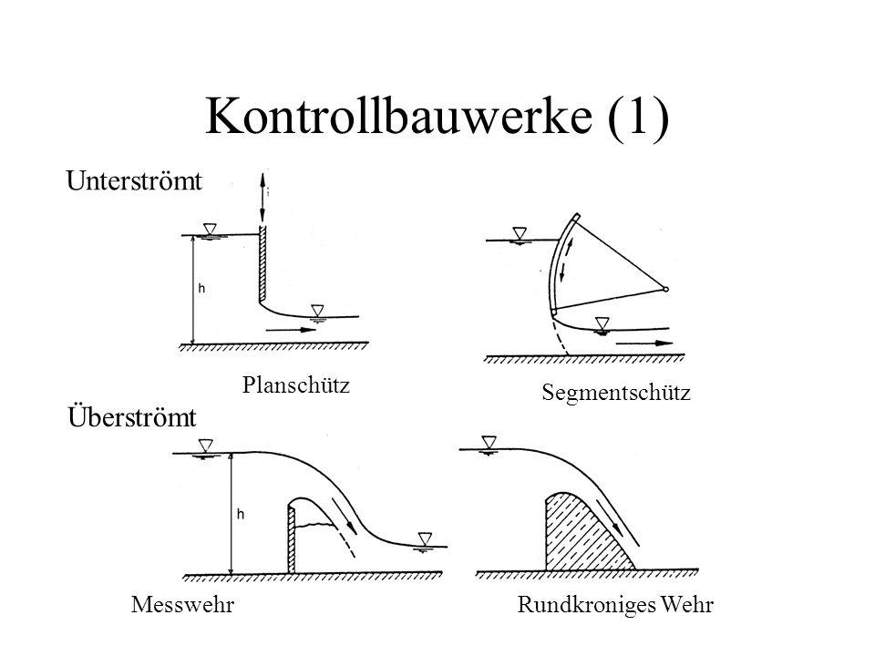 Kontrollbauwerke (1) Unterströmt Überströmt MesswehrRundkroniges Wehr Segmentschütz Planschütz