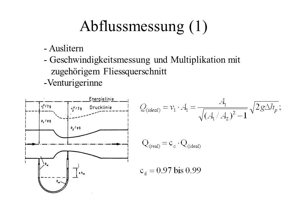 Abflussmessung (1) - Auslitern - Geschwindigkeitsmessung und Multiplikation mit zugehörigem Fliessquerschnitt -Venturigerinne
