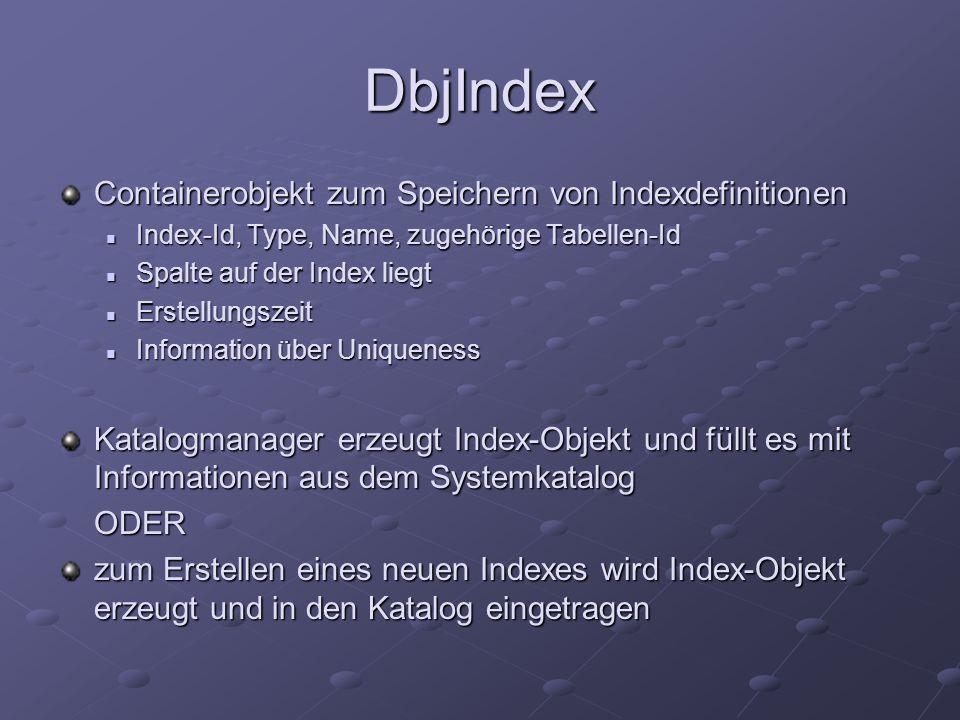 DbjIndex Containerobjekt zum Speichern von Indexdefinitionen Index-Id, Type, Name, zugehörige Tabellen-Id Index-Id, Type, Name, zugehörige Tabellen-Id Spalte auf der Index liegt Spalte auf der Index liegt Erstellungszeit Erstellungszeit Information über Uniqueness Information über Uniqueness Katalogmanager erzeugt Index-Objekt und füllt es mit Informationen aus dem Systemkatalog ODER zum Erstellen eines neuen Indexes wird Index-Objekt erzeugt und in den Katalog eingetragen
