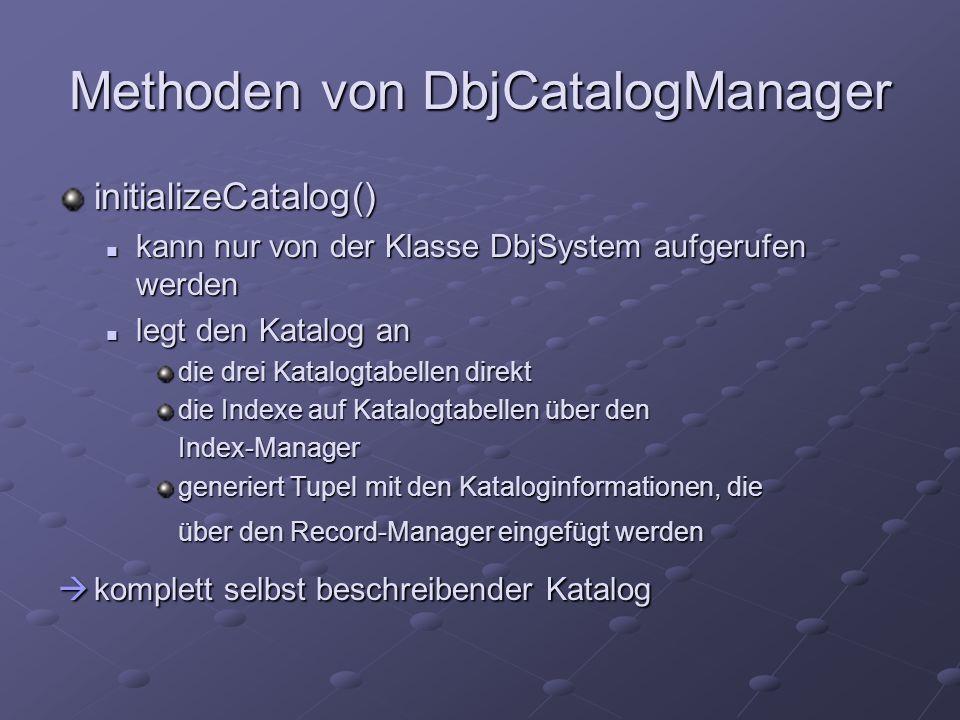 initializeCatalog() kann nur von der Klasse DbjSystem aufgerufen werden kann nur von der Klasse DbjSystem aufgerufen werden legt den Katalog an legt d