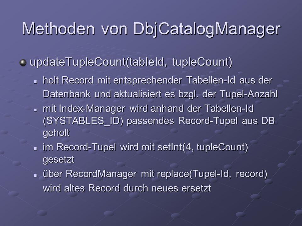 Methoden von DbjCatalogManager updateTupleCount(tableId, tupleCount) holt Record mit entsprechender Tabellen-Id aus der holt Record mit entsprechender Tabellen-Id aus der Datenbank und aktualisiert es bzgl.