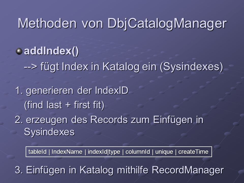 Methoden von DbjCatalogManager addIndex() --> fügt Index in Katalog ein (Sysindexes) 1.