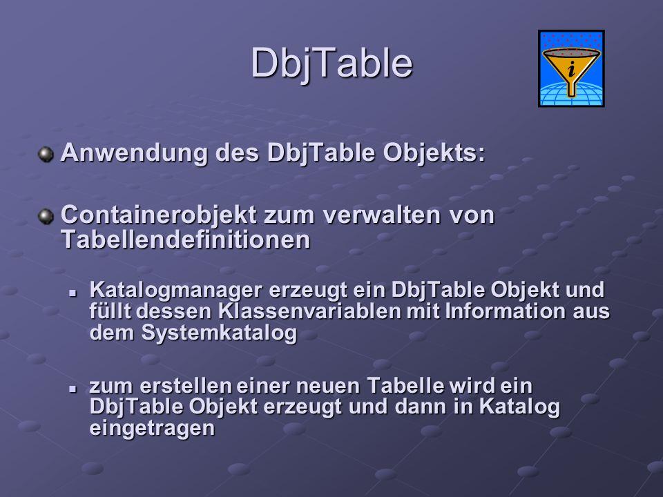 DbjTable Anwendung des DbjTable Objekts: Containerobjekt zum verwalten von Tabellendefinitionen Katalogmanager erzeugt ein DbjTable Objekt und füllt d
