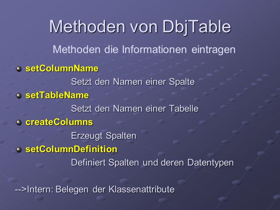 Methoden von DbjTable setColumnName Setzt den Namen einer Spalte setTableName Setzt den Namen einer Tabelle createColumns Erzeugt Spalten setColumnDefinition Definiert Spalten und deren Datentypen -->Intern: Belegen der Klassenattribute Methoden die Informationen eintragen