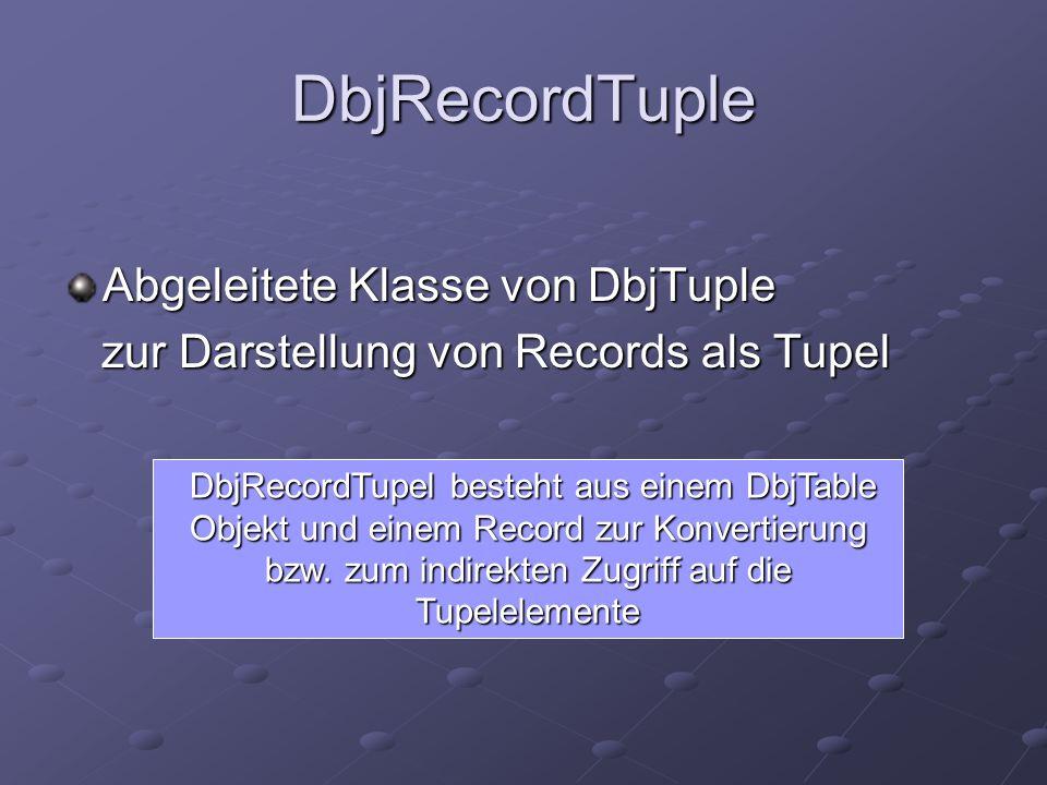 DbjRecordTuple Abgeleitete Klasse von DbjTuple zur Darstellung von Records als Tupel zur Darstellung von Records als Tupel DbjRecordTupel besteht aus einem DbjTable Objekt und einem Record zur Konvertierung bzw.