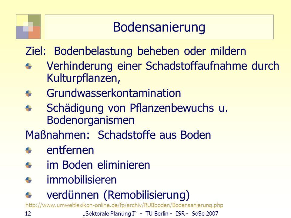 """12""""Sektorale Planung I - TU Berlin - ISR - SoSe 2007 Bodensanierung Ziel: Bodenbelastung beheben oder mildern Verhinderung einer Schadstoffaufnahme durch Kulturpflanzen, Grundwasserkontamination Schädigung von Pflanzenbewuchs u."""