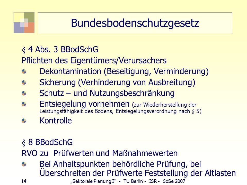 """14""""Sektorale Planung I"""" - TU Berlin - ISR - SoSe 2007 Bundesbodenschutzgesetz § 4 Abs. 3 BBodSchG Pflichten des Eigentümers/Verursachers Dekontaminati"""