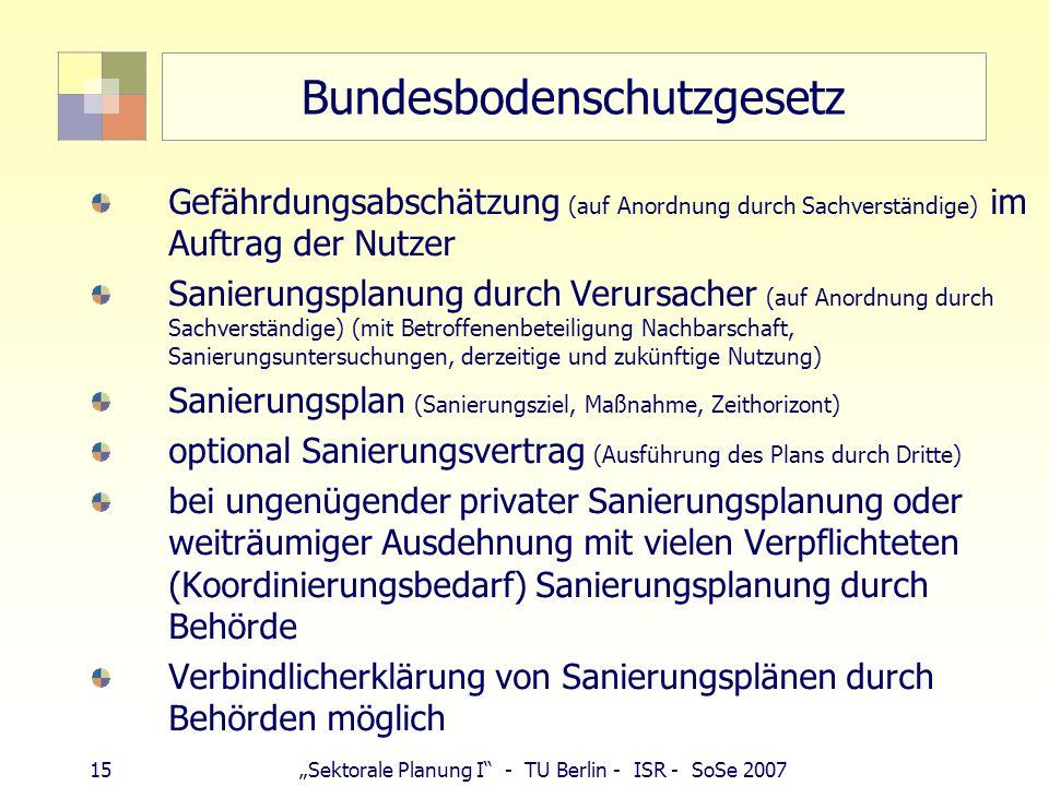 """15""""Sektorale Planung I - TU Berlin - ISR - SoSe 2007 Bundesbodenschutzgesetz Gefährdungsabschätzung (auf Anordnung durch Sachverständige) im Auftrag der Nutzer Sanierungsplanung durch Verursacher (auf Anordnung durch Sachverständige) (mit Betroffenenbeteiligung Nachbarschaft, Sanierungsuntersuchungen, derzeitige und zukünftige Nutzung) Sanierungsplan (Sanierungsziel, Maßnahme, Zeithorizont) optional Sanierungsvertrag (Ausführung des Plans durch Dritte) bei ungenügender privater Sanierungsplanung oder weiträumiger Ausdehnung mit vielen Verpflichteten (Koordinierungsbedarf) Sanierungsplanung durch Behörde Verbindlicherklärung von Sanierungsplänen durch Behörden möglich"""