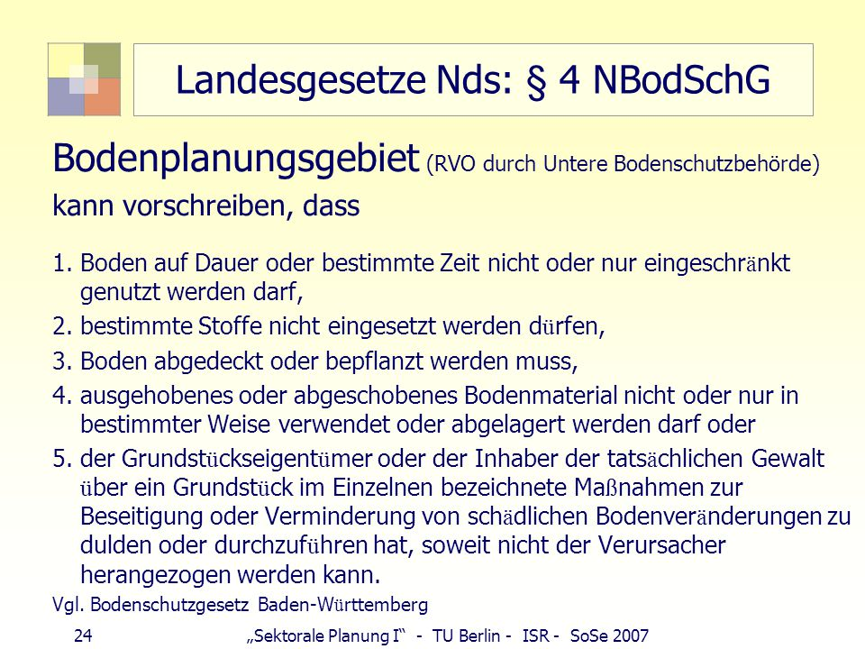 "24""Sektorale Planung I"" - TU Berlin - ISR - SoSe 2007 Landesgesetze Nds: § 4 NBodSchG Bodenplanungsgebiet (RVO durch Untere Bodenschutzbehörde) kann v"